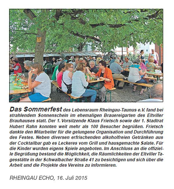 Lebensraum Rheingau-Taunus e.V. - Das Sommerfest 2015